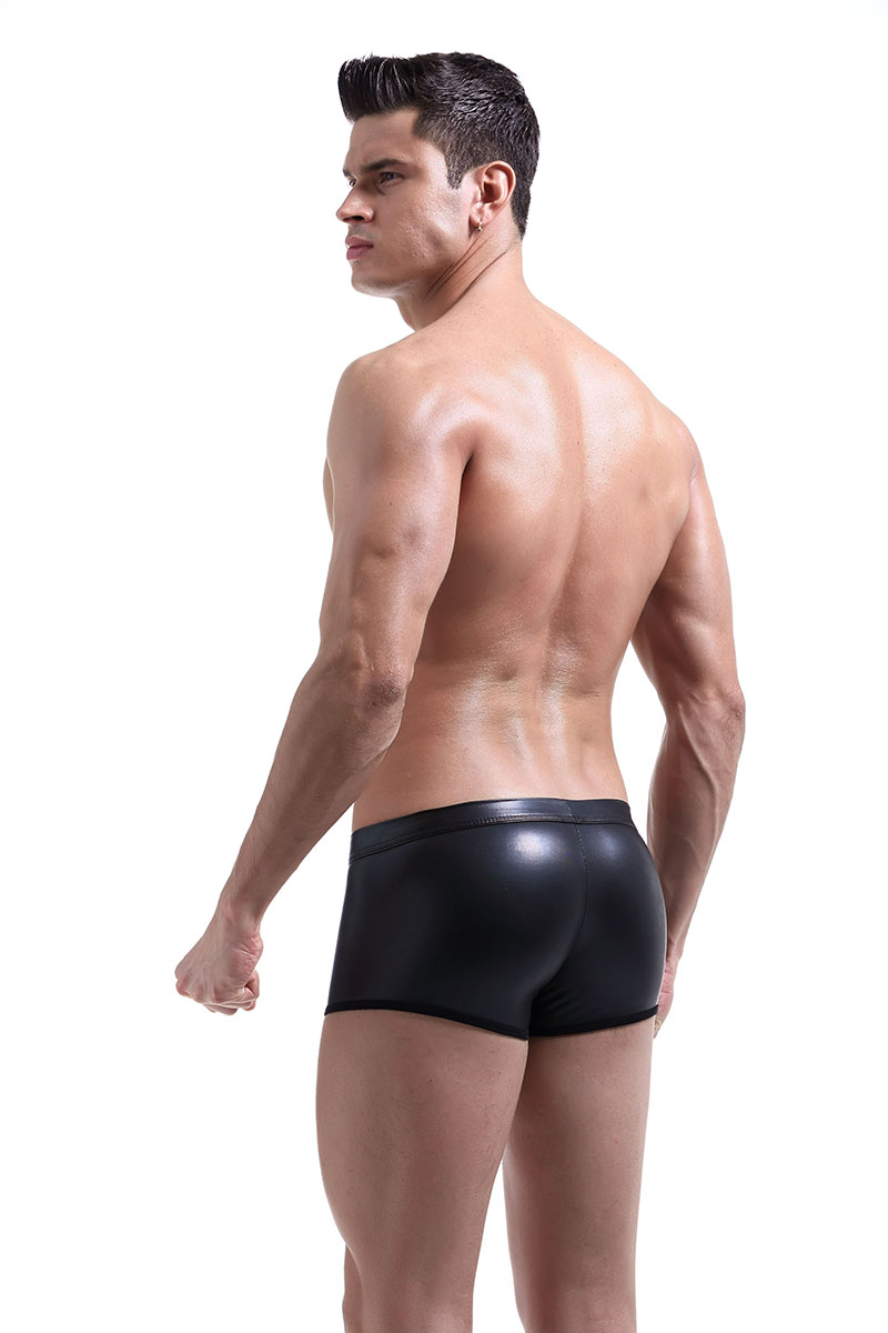 Black leather boxer