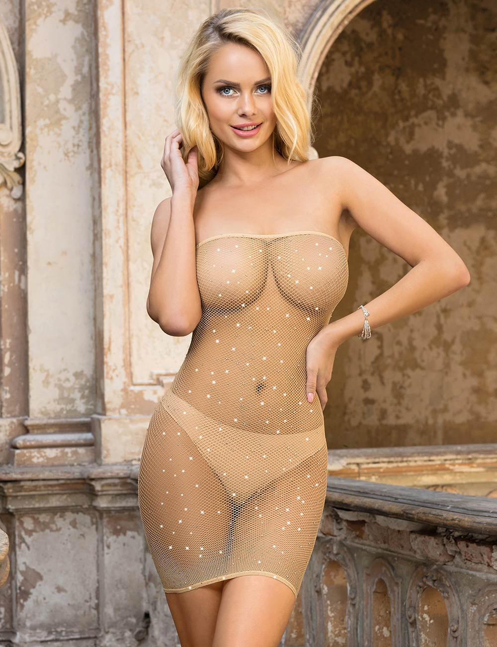 Fishnet Off-the-shoulder Sparkle Bodystocking