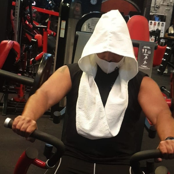 2pcs gym tshirt, mask and  hoodie towel